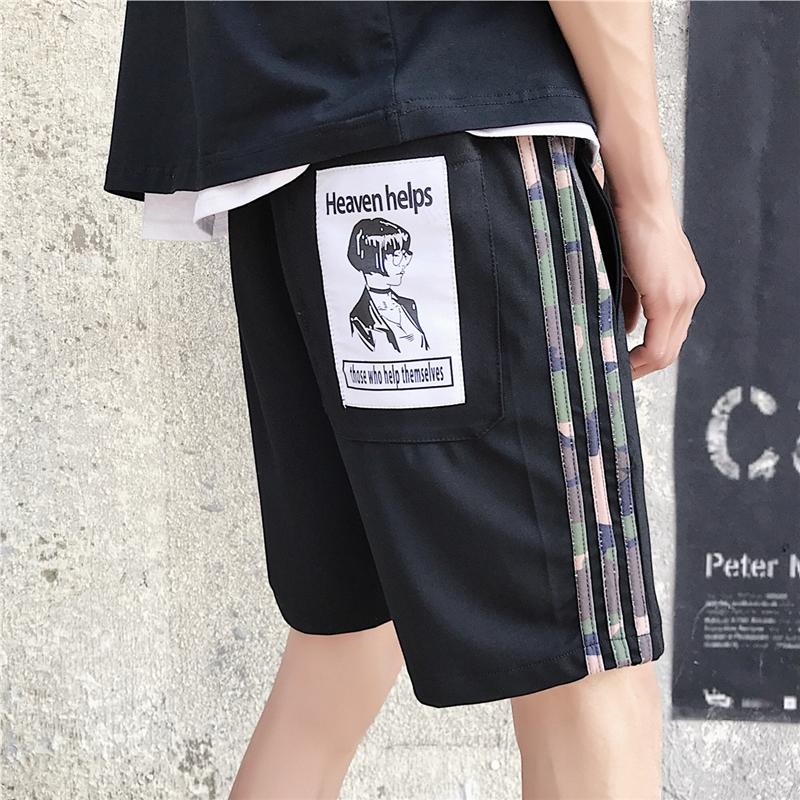 夏季男士休闲短裤韩版情侣迷彩三条杠贴布宽松直筒五分裤 发货周期:一般在付款后2-90天左右发货,具体发货时间请以与客服协商的时间为准