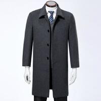 冬长款过膝加厚大码风衣毛呢外套男士品牌商务中年爸爸装羊绒大衣