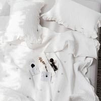 北欧简约绗缝被夹棉床盖三件套五角星星刺绣棉床单床垫保护垫