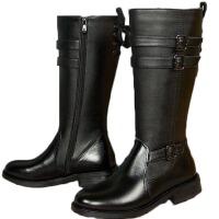 AOTU 男士全牛皮靴子英伦长靴高筒男靴仪仗队阅兵靴马靴潮流男夹层靴 黑色全牛皮 内加绒