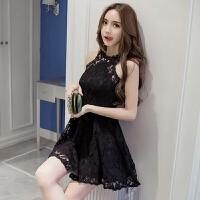 夏季新款韩版女装蕾丝性感夜店露肩漏肩挂脖连衣裙夜店装