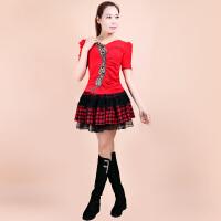 秋季广场舞服装套装上衣长袖跳舞蹈服中老年女广场舞服 大红短袖+格子裙