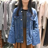 韩国ulzzang2018春新款蓝色显瘦喇叭袖牛仔外搭开衫女立领外套潮