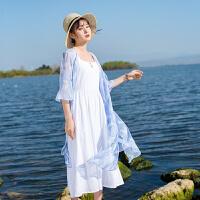印花雪纺衫女夏季防晒开衫2018新款中长款仙仙女上衣薄款外搭 蓝色