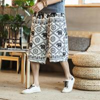 夏季中国风休闲短裤男士大码宽松五分裤潮流亚麻沙滩裤民族风裤子