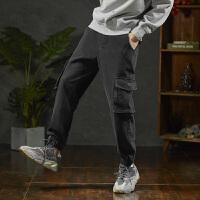 【1折价49.9元】唐狮秋新款牛仔裤男宽松黑色工装牛仔长裤男士小脚裤韩版潮