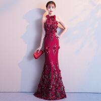 敬酒服女2018新款新娘红色鱼尾婚礼订婚宴会晚礼服长款显瘦 酒红色长款