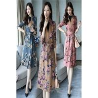 中国风外套女式风衣新款小碎花气质时尚中长款港味复古风衣潮