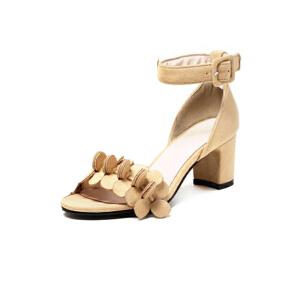 ELEISE美国艾蕾莎新品020-A42-6韩版磨绒高跟粗跟女士凉鞋