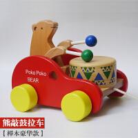 木质卡通动物推推乐婴幼儿童单杆学步车手推车 宝宝拖拉玩具1周岁