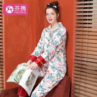 芬腾 睡衣女19年秋季新品纯棉花色长袖翻领开衫家居服与套装女 白色