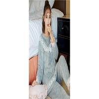 冬季新款法兰绒睡衣套装女 韩版加厚长袖甜美蕾丝公主家居服 灰色