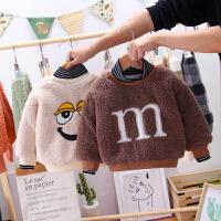 男童加绒卫衣宝宝外套冬装可爱打底高领儿童保暖上衣