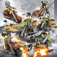 男孩兼容乐高军事人仔系列拼装积木玩具男孩子6儿童810周岁12礼物 智力开发启蒙益智 魅影骑士(6摩托+6人仔+武器包