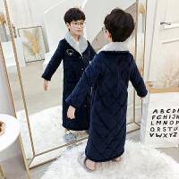 儿童浴袍珊瑚绒男童睡袍法兰绒宝宝秋冬季翻领三层夹棉款睡衣