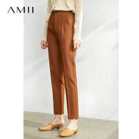 【到手价:112元】Amii通勤百搭休闲裤九分裤2020春装新款高腰直筒显瘦黑色小脚裤女