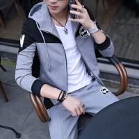 外套男士春秋装韩版潮流新款帅气连帽衫卫衣冬季运动夹克套装