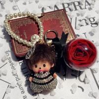 蒙奇奇永生花钥匙扣可爱包包挂件汽车钥匙链情侣创意礼品盒