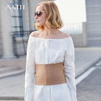 【大牌清仓 5折起】Amii[极简主义]塑身细腰绑带宽腰封2018春装新款加宽罗马布腰带