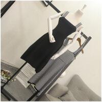 夏季新款冰丝凉高腰修身显瘦条纹连衣裙女装潮 24661