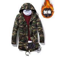 冬季加棉棉服外套新品保暖日系男士中长款棉衣迷彩服大码棉风衣潮