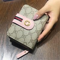 女士钱包短款新款韩版粉色可爱2折头层牛皮学生小钱夹 6_桃心粉