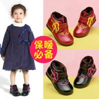 斯纳菲女童鞋儿童棉鞋冬 冬季皮鞋真皮公主鞋加绒宝宝鞋子冬鞋16981