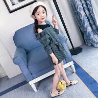 女童时尚条纹连衣裙新款儿童春装女大童春季韩版露肩公主裙子