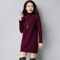 秋冬季韩版女装针织衫加厚外套中长款打底衫半高领宽松套头毛衣裙