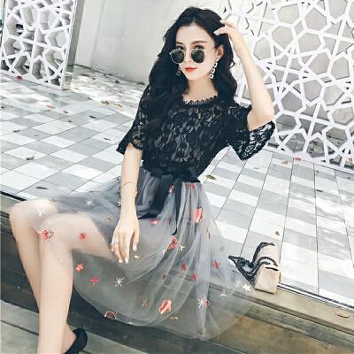 连衣裙女夏2018新款中长款复古极简显瘦网纱蕾丝裙子