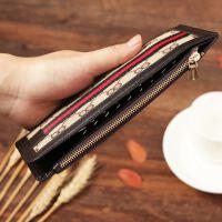 女士布卡包男士长款卡位多功能布艺大容量*女式钱包手机卡片拉链硬币学生银行卡 咖啡色