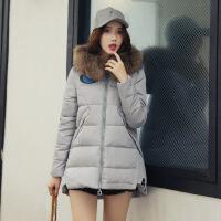 冬季新款显瘦潮流长袖时尚棉衣宽松连帽(配真毛领)