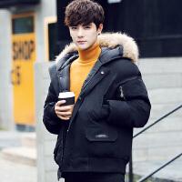 羽绒服男士加厚短款潮牌韩版连帽毛领面包服男款冬季小清新外套 黑色 S