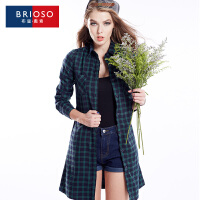 BRIOSO 秋装新款全棉薄款格子风衣 开身系带款百搭修身显瘦欧美风格子连衣裙 WG58995-1
