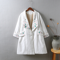 F8毛呢外套秋冬新款韩国 刺绣中长款加厚 学生呢子大衣女0.85