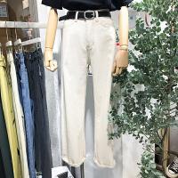 韩国ulzzang2018春装新款简约百搭宽松直筒裤白色高腰牛仔长裤女