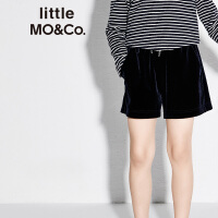 littlemoco春季新品儿童裤子女橡筋松紧腰运动风休闲丝绒短裤