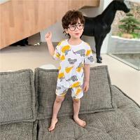 【2件2折】左西男童睡衣儿童家居服套装纯棉夏季短袖薄款中大童男孩2021新款