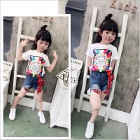 女童套装夏季新款中小童卡通彩笔字母印花T+牛仔短裤套