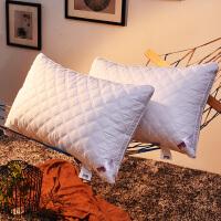 家纺全棉可水洗羽丝绒枕芯酒店宾馆护颈枕头全棉软枕头单双人一对拍二