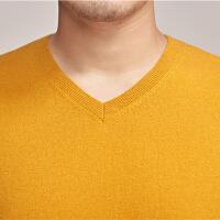 2018秋季新款羊绒衫男v领纯羊绒秋季薄款男士羊毛衫青年纯色套头鸡心领毛衣