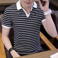 潮流翻领POLO衫半袖V领有带领T恤韩版2018男装衬衫领衣服