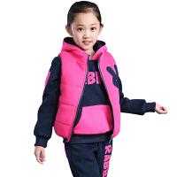 运动服饰新款韩版童装运动休闲卫衣棉衣马甲开衫童装加绒加厚三件套 玫