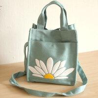 可爱雏菊帆布加厚帆布包 饭盒包便当包 小拎包蓝色
