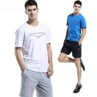 新款大码男士休闲短裤运动服圆领短袖T恤男短裤男士运动套装透气速干