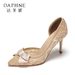 达芙妮 春休闲浅口单鞋 气质尖头蕾丝蝴蝶结细跟高跟鞋