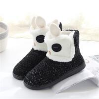 女式厚底韩版秋冬季棉拖鞋可爱卡通家居靴室内加绒保暖毛拖鞋防滑 黑色