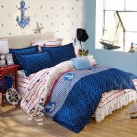 家纺全棉韩版公主风床上四件套 床裙款双人小清新纯棉被套床罩1.8m床