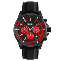 防水六针手表石英大表盘男士手表运动风商务腕表硅胶带男表