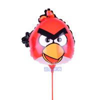 铝膜气球托杆儿童生日卡通手持棒派对可爱地推多款玩具棒 桔色 愤怒的小鸟100个